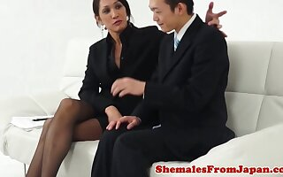Japanese newhalf cockriding in stockings
