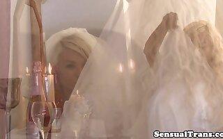 Shemale bride pleasured on her wedding night