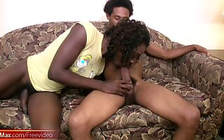 Ebony shemale gets big cock in her ass
