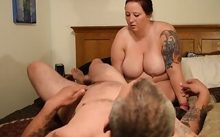 Fat pig whore gets milked again