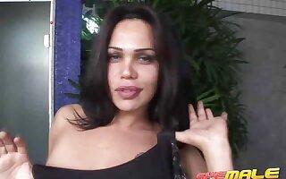 Elegant brunette shemale Penelope Jolie teasing us with her sexy black dress