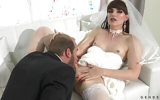Dressed like a bride horny shemale Natalie Mars is analfucked doggy